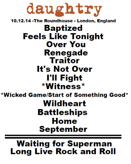 Daughtry setlist - London Roundhouse, 12 October 2014