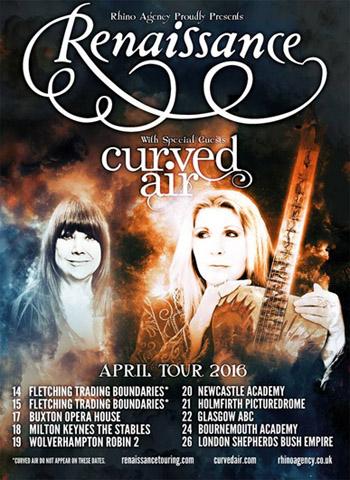 Renaissance/Curved Air - UK Tour (April 2016)