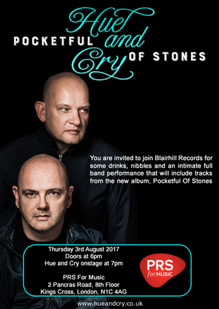 HUE & CRY Album Launch - PRS Building, King's Cross, London, 3 August 2017